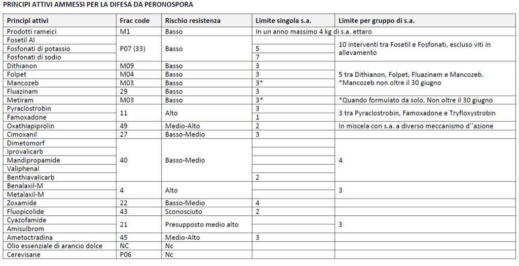 tabella peronospora bollettino vite 2/2021
